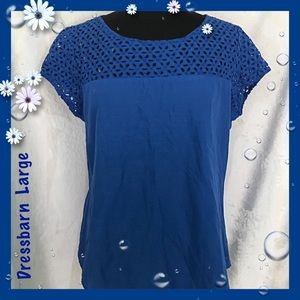 Dressbarn Blue Open Work Bodice Top Size Large
